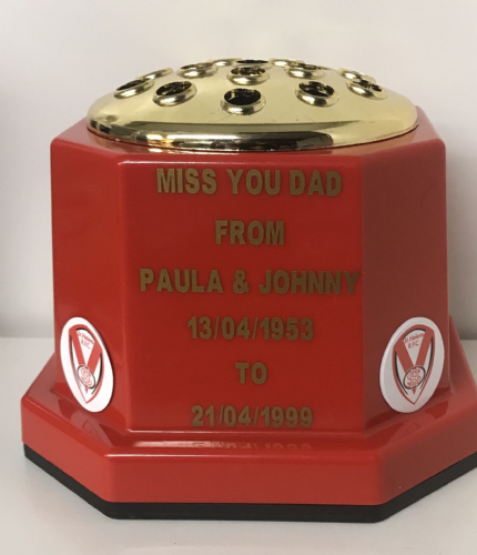 St Helens R.F.C. Rugby  personalised grave pot, red